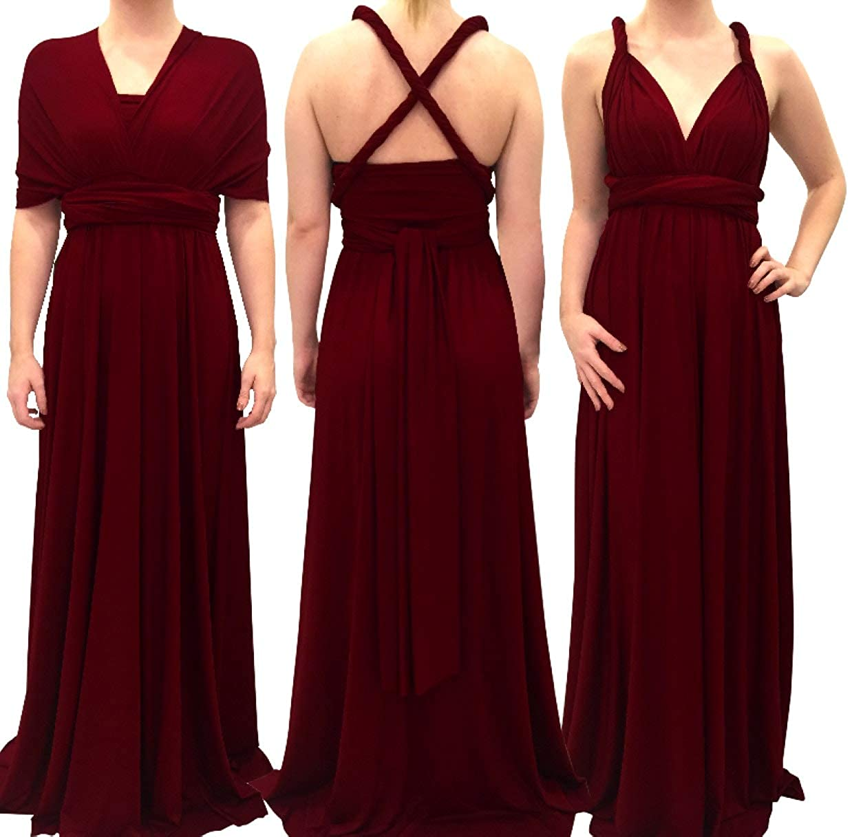 34a35826295 4Now Fashions Long Burgundy Infinity Dress Long Bridesmaid Dress Prom  Convertible Multiway at Amazon Women s Clothing store