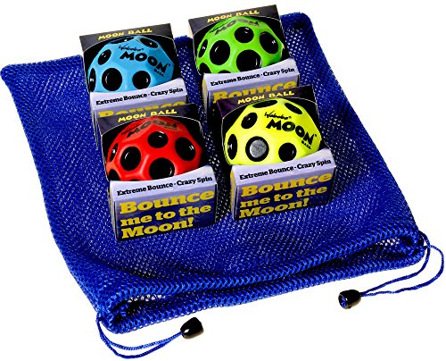 Waboba MOON Extreme Bounce Bundle of 4 Balls _ in 4 Neon Colors _ BONUS Soft Nylon Net Drawstring 9 x 12'' Royal Blue Carry Bag by Waboba (Image #3)