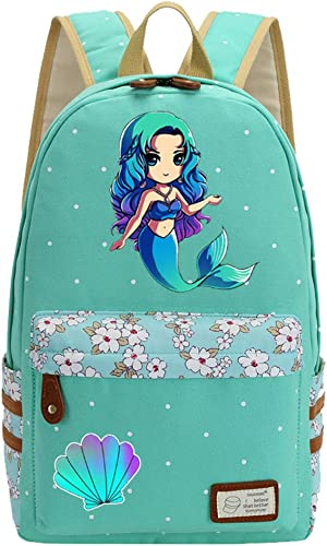 Mermaid Unicorn Flowers Canvas Princess Women Backpack Shoulder Bag GREEN 2