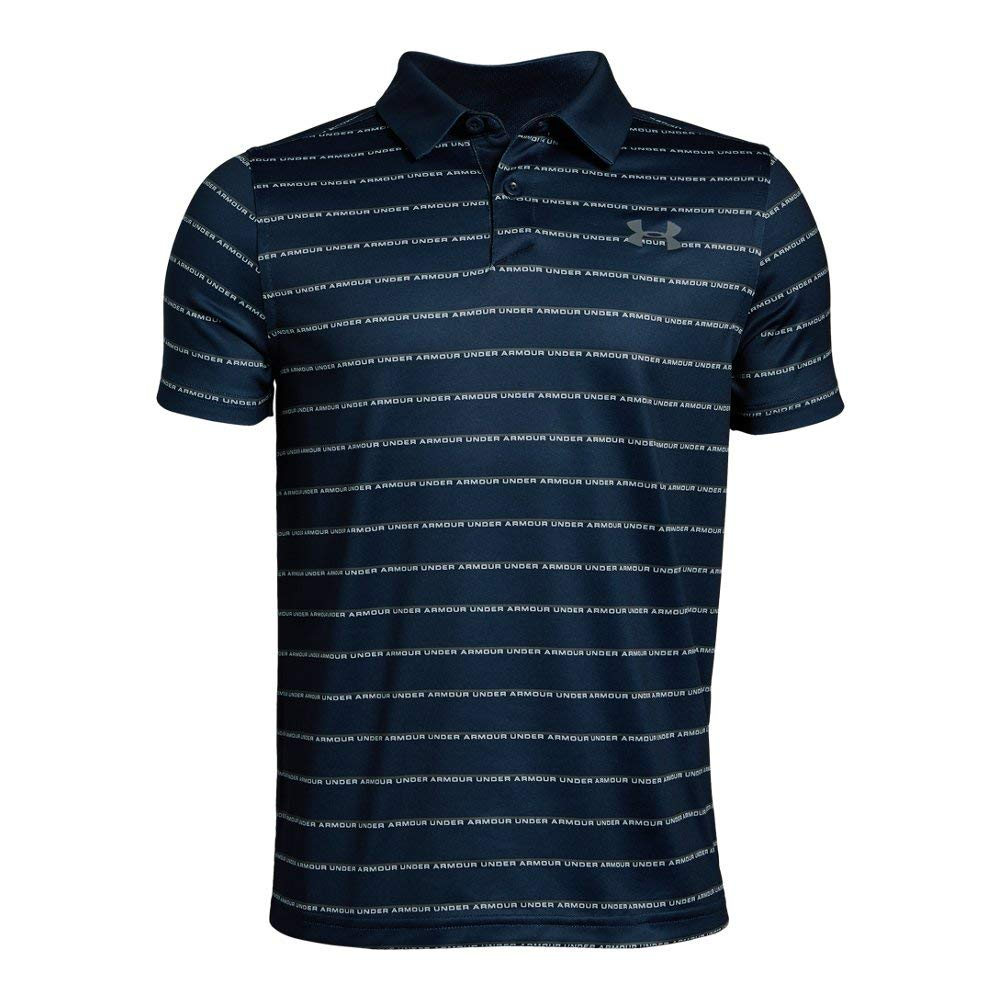 Under Armour Tour Tips Stripe Polo, Academy//Pitch Gray, Youth Small by Under Armour
