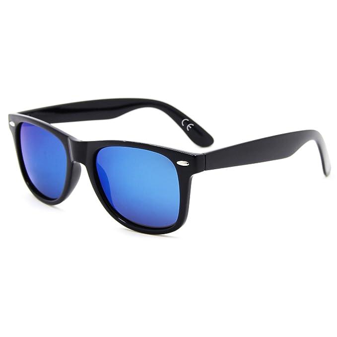d087abb953 AMZTM Clásico Plaza Retro Reflejado Azul Hielo Lente Polarizadas Designer  Wayfarer Hombre Y Mujer Gafas De Sol: Amazon.es: Ropa y accesorios