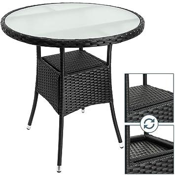 Deuba Table en polyrotin Surface Ronde Ø 80cm Noir Verre Balcon ...