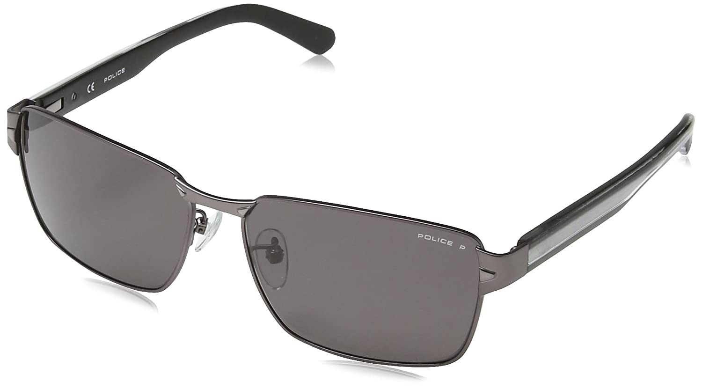 Police - Gafas de sol Rectangulares S8850 Glider 1, MATT GUNMETAL FRAME/SMOKE LENS: Amazon.es: Ropa y accesorios