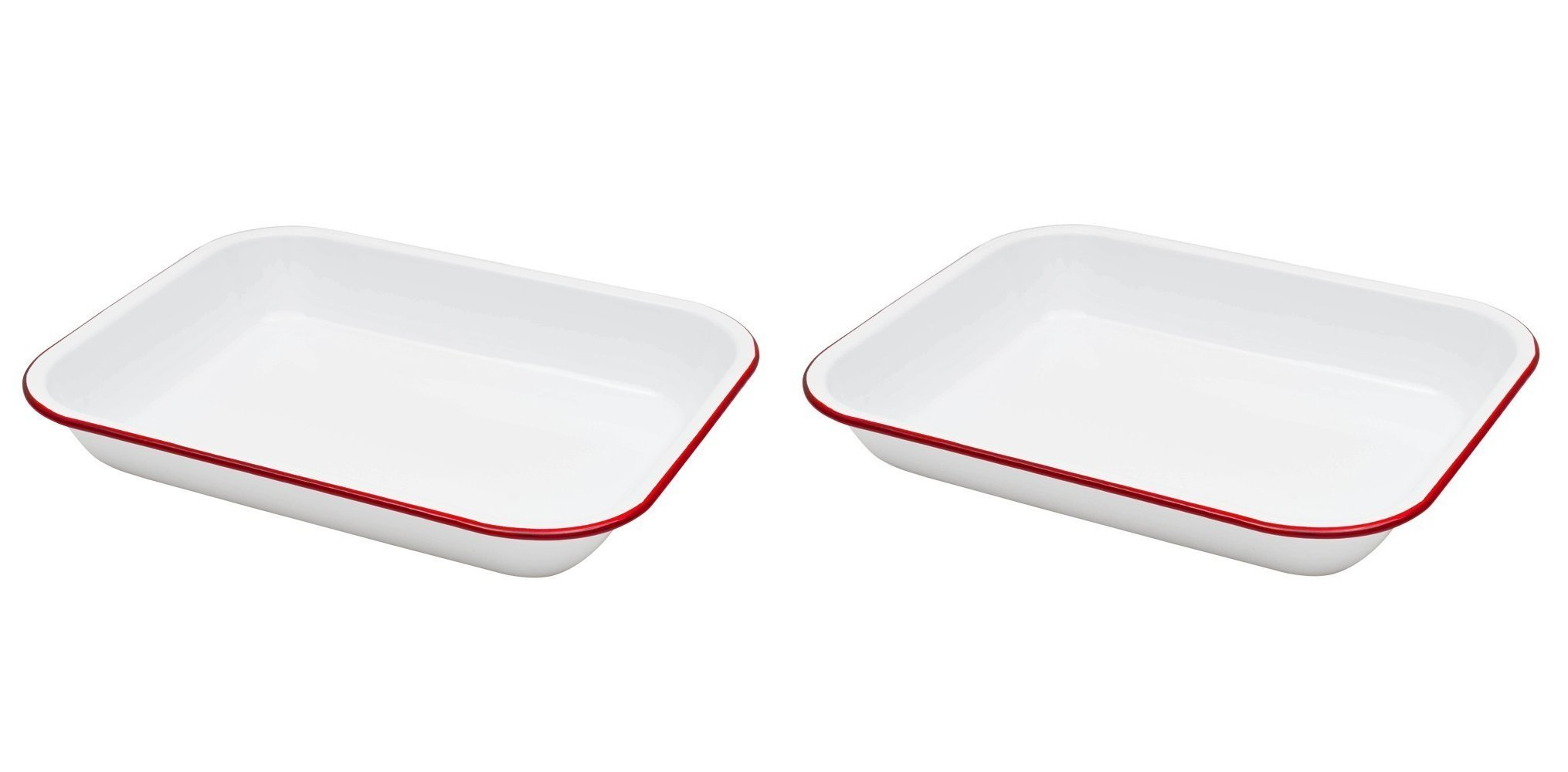 Crow Canyon - Set of 2 Enamelware Large 3 Quart Roasting Pans (White with Red Rim)