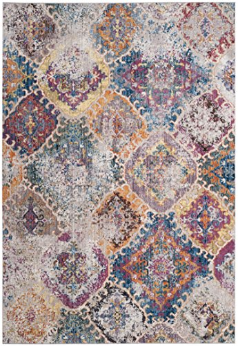 Safavieh Bristol Collection BTL351D Blue and Light Grey Vintage Distressed Bohemian Area Rug (6' x 9')