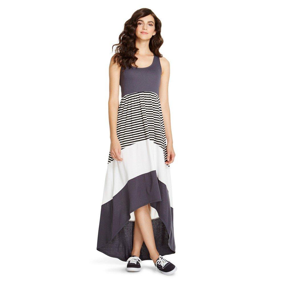 e7e45764a65d Mossimo Supply Co Women's Women's Hi Low Charcoal/Striped Long Dress at  Amazon Women's Clothing store: