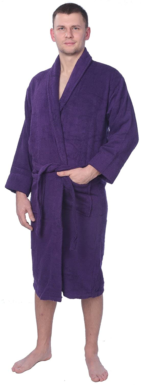 828f810d31 Men s 100% Cotton Shawl Collar Robe Terry Cloth Bathrobe Available in Plus  Size