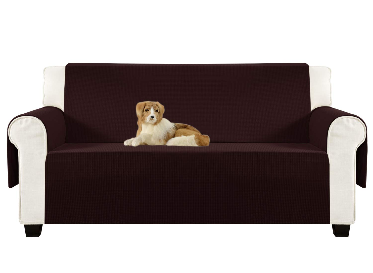 Aidear Anti-Slip Sofa Slipcovers Jacquard Fabric Pet Dog Couch Covers Protectors (Sofa: Oversized, Dark Brown)