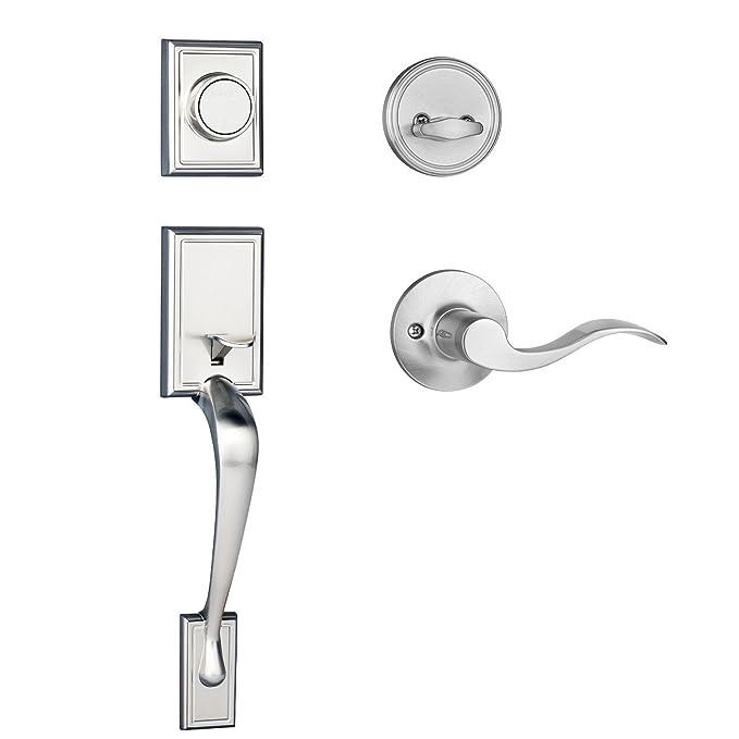 With Heritage Lever Satin Nickel Right Hand Dynasty Hardware RID-HER-100-15R Ridgecrest Front Door Handleset