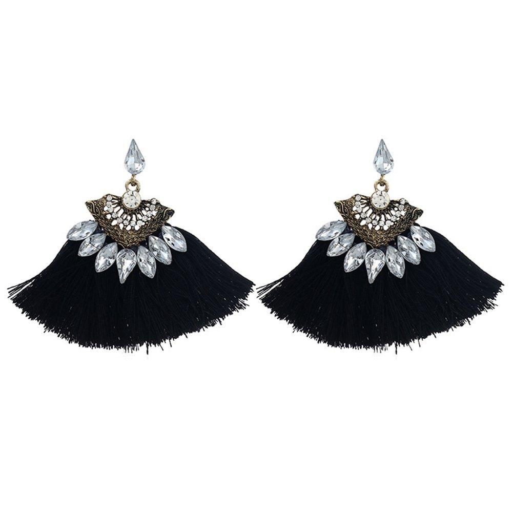Wintefei Ethnic Rhinestones Alloy Drop Ear Studs Style Tassel Earrings Women Jewelry - Black