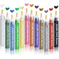 Pathos India Permanent Acrylic Paint Marker Pens for Rocks Painting, Ceramic, Glass, Wood, Fabric, Canvas, Mugs, DIY Craft Making Supplies, Scrapbooking Craft, Card Making 12 Colors/Set