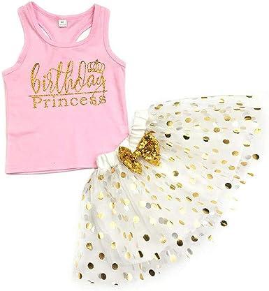 2pcs Newborn Kids Baby Girls Outfits T-shirt Tops+Sequin Tutu Skirt Dress Set