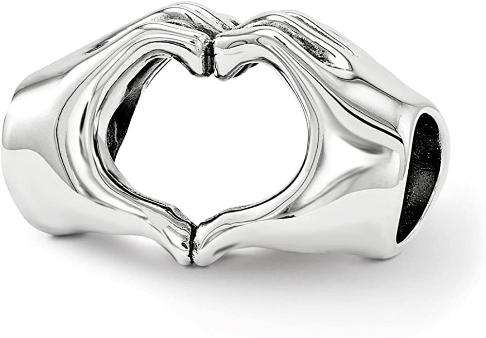 Sterling Silver Reflections Heart Hands Bead Solid 14.55 mm 9.09 mm Themed Beads Jewelry