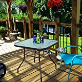 Giantex 32.5'' Outdoor Glass Table W/Tempered