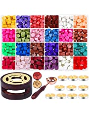 636Pcs Wax Seal Stamp Kit, Acejoz Wax Seal Kit with Wax Seal Beads, Tea Candles, Wax Melting Spoon and Wax Seal Warmer for Wax Seal Stamp, Sealing Envelopes, Crafts (24 Colors)