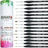 Detail Paint Brush Set, 15pcs Fine Miniature Paint Brushes Kit with Ergonomic Triangular Handle, Holder and Travel Bag…
