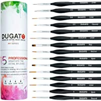 (XVI) - Detail Paint Brush Set By DUGATO - Minute Series XVI 15pc Miniature Paint Brush Set With Ergonomic Triangular…