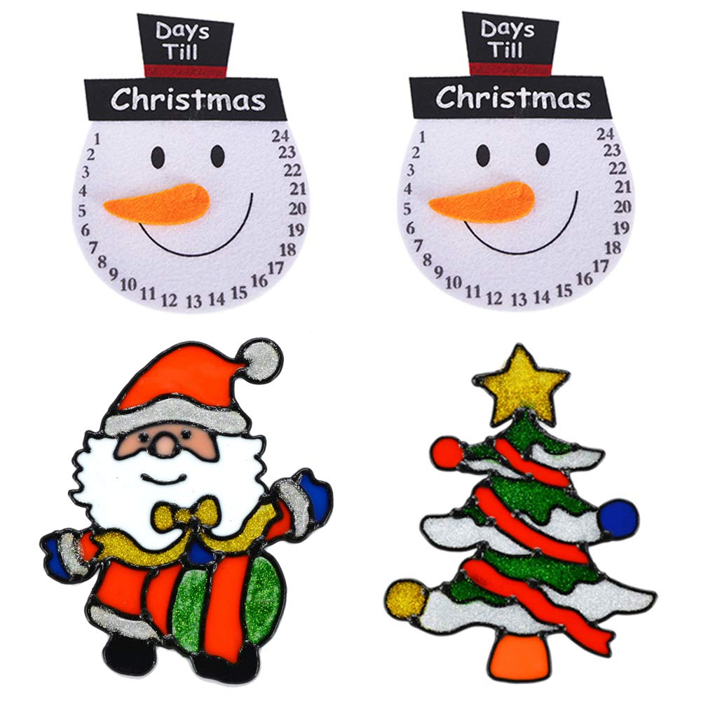 4pcs Christmas Decoration Snowman Refrigerator Magnets Elk Santa Claus Christmas Trees Double Sided Stickers