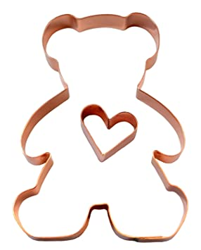 Día de San Valentín oso de peluche con corazón cobre cortadores de galletas: Amazon.es: Hogar