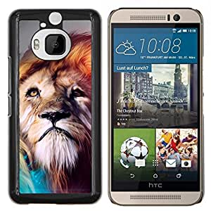 Qstar Arte & diseño plástico duro Fundas Cover Cubre Hard Case Cover para HTC One M9Plus M9+ M9 Plus (Pintura Majestic Lion)