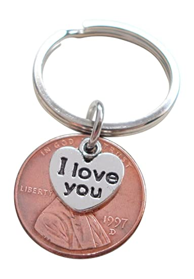 Amazon I Love You Heart Charm Layered Over 1997 Us One Cent