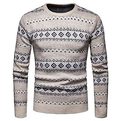 kaifongfu Men Christmas Pullover Tops Autumn Striped Sweater Outwear Shirt