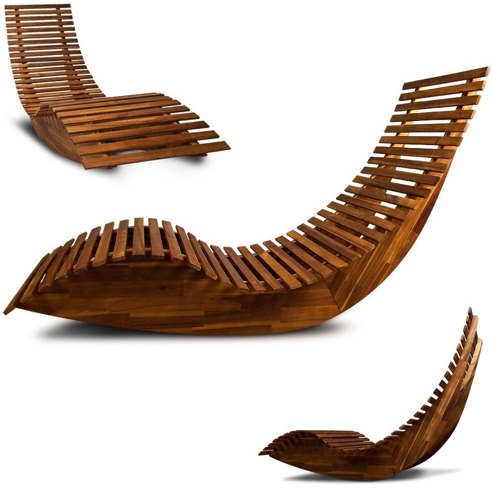 Gartenliege design  Ergonomic Wooden Swinging Lounger Relaxing Rocker Garden Chair ...