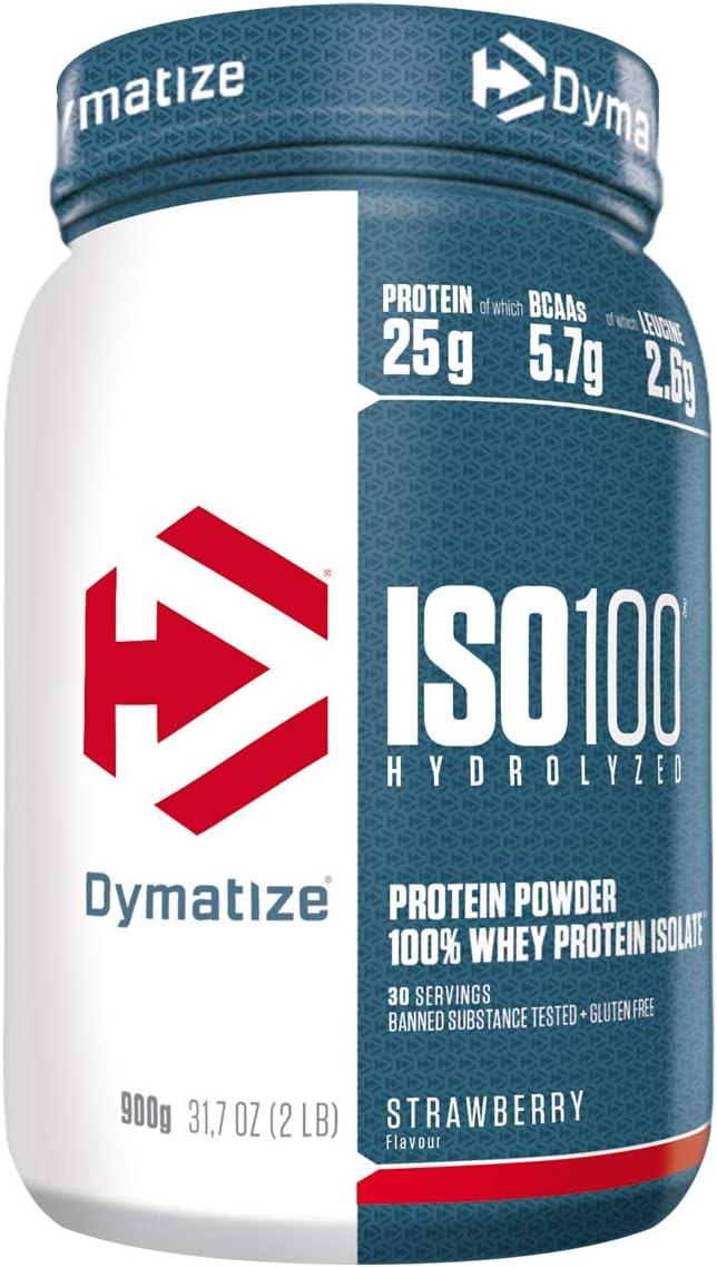 Dymatize ISO 100 Strawberry 900g - Hidrolizado de Proteína de Suero Whey + Aislado en Polvo