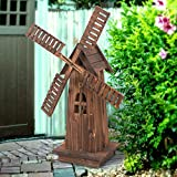 Nova Microdermabrasion 34'' Wooden Dutch Windmill For Garden Yard Classic Old Decorative Windmill Brown