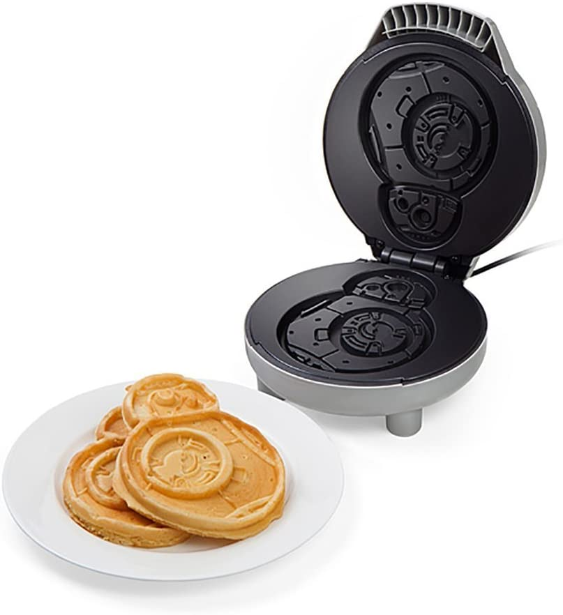 ThinkGeek Star Wars BB-8 Waffle Maker – Makes 5 Across x 6 3 4 Tall Waffles – Non-Stick Cooking Plates, On Off Switch