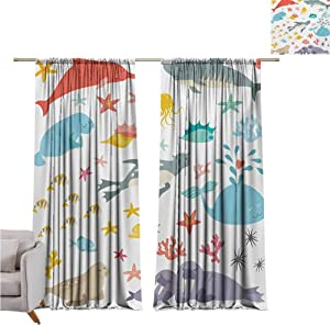 GUUVOR Ocean Wear-Resistant Color Curtain Whale Squid Sea Lion Shark Jellyfish Clownfish Dolphin Starfish Stingrays Colorful Waterproof Fabric W52 x L108 Inch Multicolor