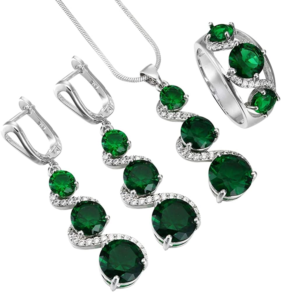 linn45youxian Jewellry Sets,Faux Emerald Gemstone Pendant Necklace Ring Earring Wedding Bridal Jewelry Set Perfect Wedding Christmas Valentines Gift