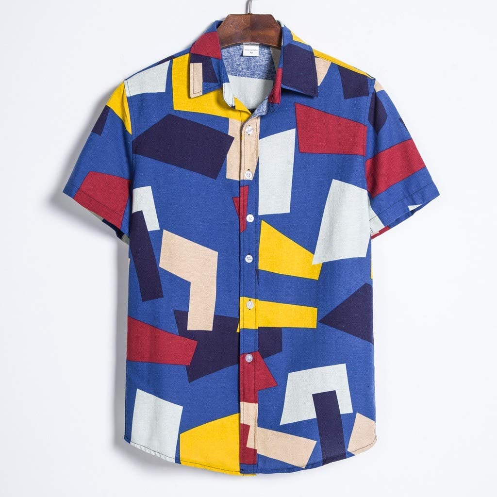 YOcheerful Mens Summer Tops Stand Collar Strip Shirts Print Short Sleeve Shirts Loose Button Up Tops