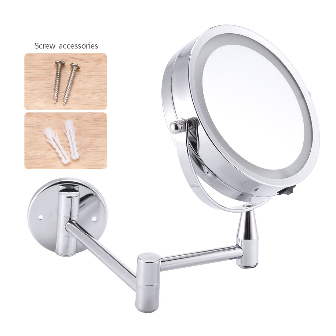 1X/3X Magnification Led Cosmetic Mirror Wall Mounted, Double Side, Adjustable, Rotating Function, Lighted Vanity Mirror, Powered by 4 x AAA Batteries (not Included) by FIRMLOC (Image #2)