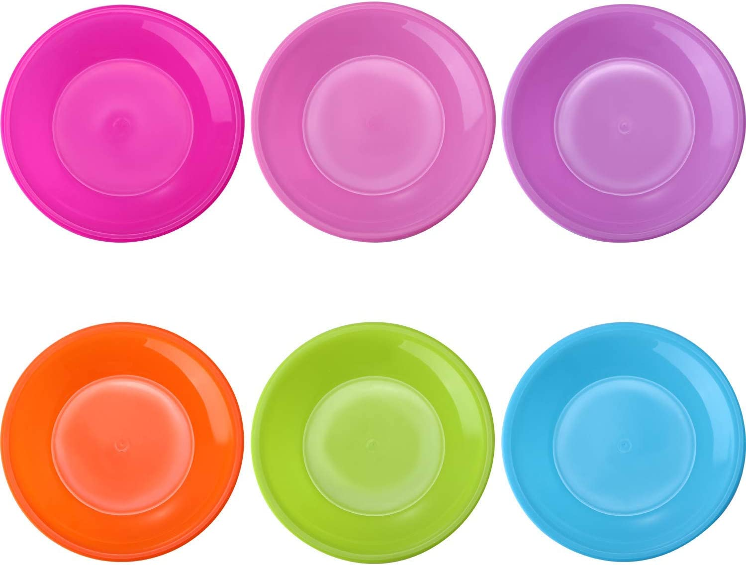 12 pack Colorful Plate Set Plastic Snack Plate Small Dinner Plates, Microwave and Dishwasher Safe, 6 Assorted Colors 2 Sets
