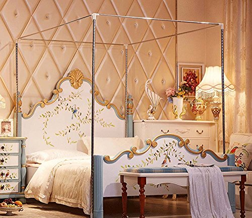 NATURETY Stainless Steel Mosquito Netting Canopies Frame/Post Queen Size (Queen)