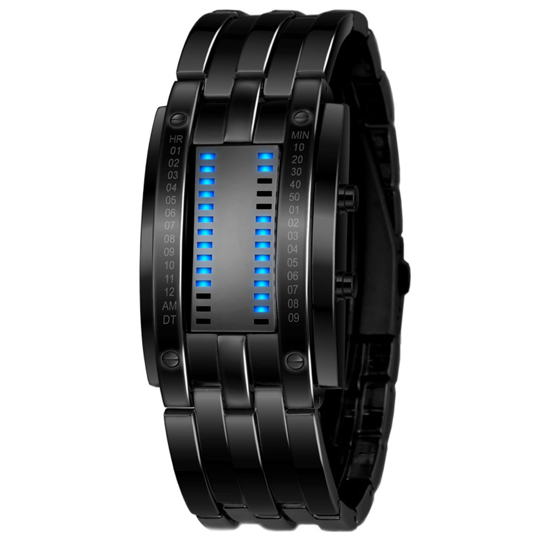 Gets Unisex Binary Watch Unique Led Illuminator Wrist Watches Creative Stainless Steel Sports Watch (Black-6.7 inch,6.7 inch)