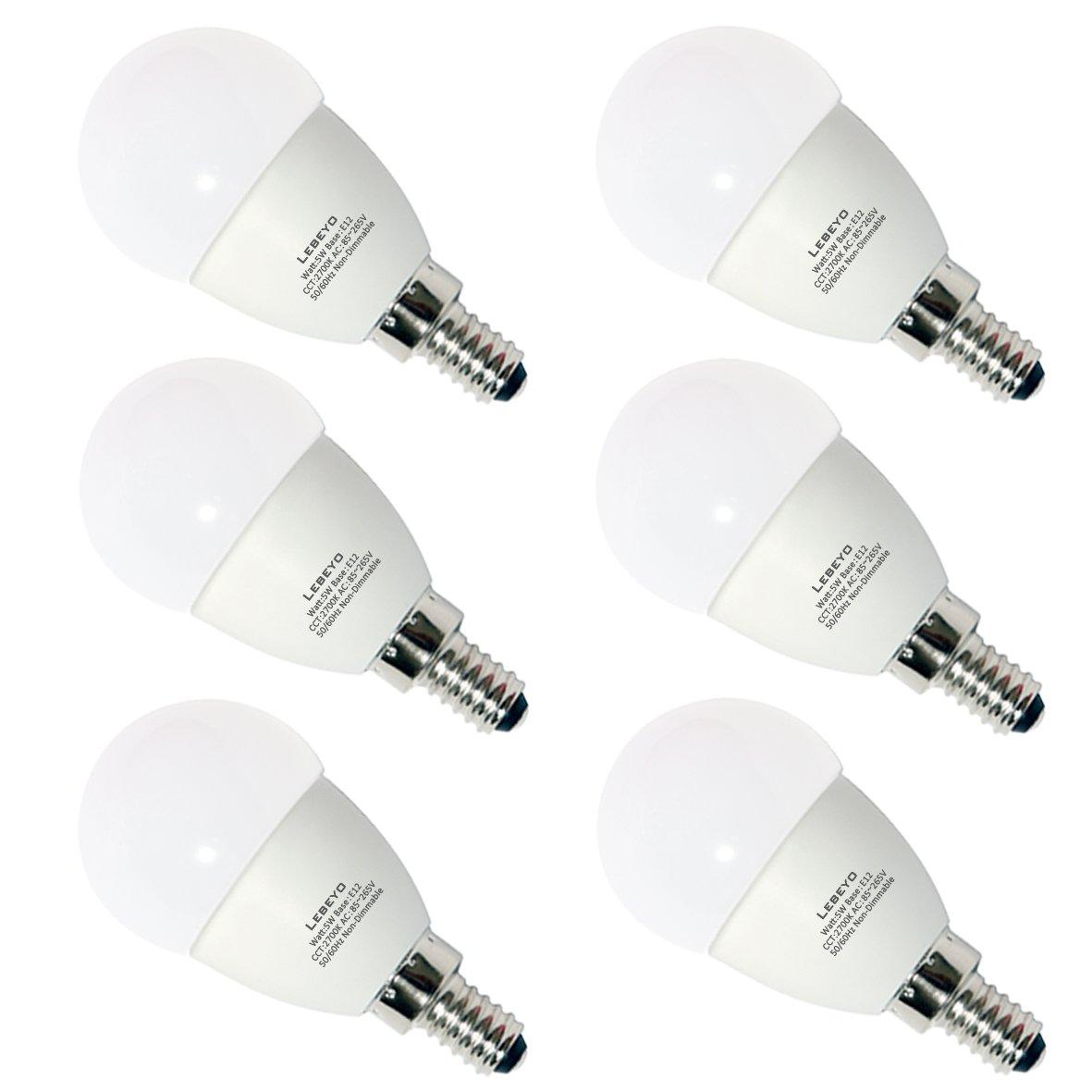 lebeyo e12 LED g45電球ランプ5 W 50 W相当燭台ウォームホワイト2700 K電球(gle12 – 04 ,パックof 6 ) B07CVRJNDD
