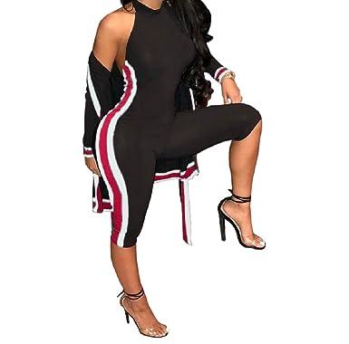 78344c0ea0e Amazon.com  Winwinus Womens Hit Color Sport Cardigan Stripe Tights 2 Piece  Set Sexy Rompers  Clothing