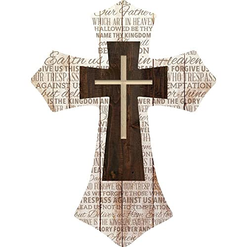 P. Graham Dunn Lord s Prayer Three Cross Whitewash with Dark Wood 16 x 12 Wood Wall Art Plaque Cross