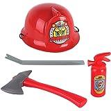 斧とのハロウィン 派手な ドレス 持つ消防士 ヘルメット 子供用