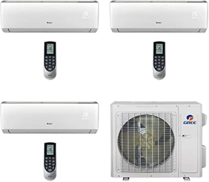 Amazon Com Gree Multi24cvir301 24 000 Btu Multi21 Tri Zone Wall Mount Mini Split Air Conditioner Heat Pump 208 230v 9 9 12 Home Kitchen