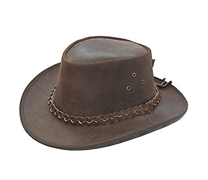 5e2622a5a04 Lesa Collection Kids Leather Cowboy Western Style Bush HAT Brown Boys or  Girls (XS(