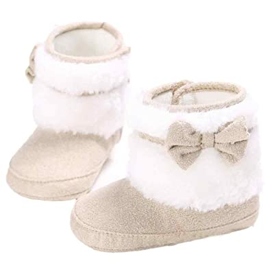 AMA(TM) Newborn Baby Toddlers Snowboots Bowknot Soft Sole Booties Winter Warm Shoes