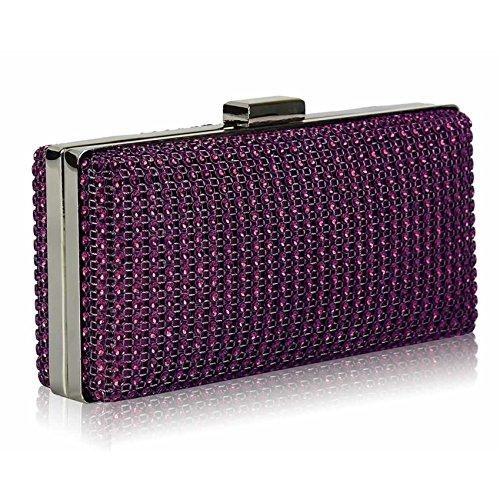 TrendStar - Cartera de mano para mujer Small púrpura - Purple Box Clutch Bag