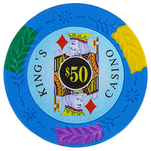 Ace King Poker Chips - Brybelly King's Casino Premium Poker Chip 14-gram Heavyweight Clay Composite - Pack of 50 ($50 Light Blue)