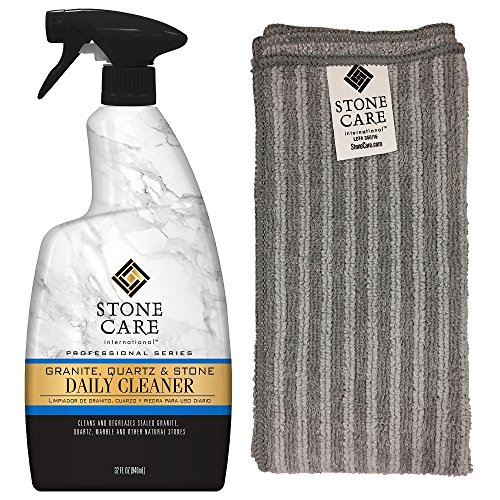 Granite Cleaner And Microfiber Cloth   32 Fluid Ounces   Stone Care International   Granite Quartz And Stone Daily Cleaner
