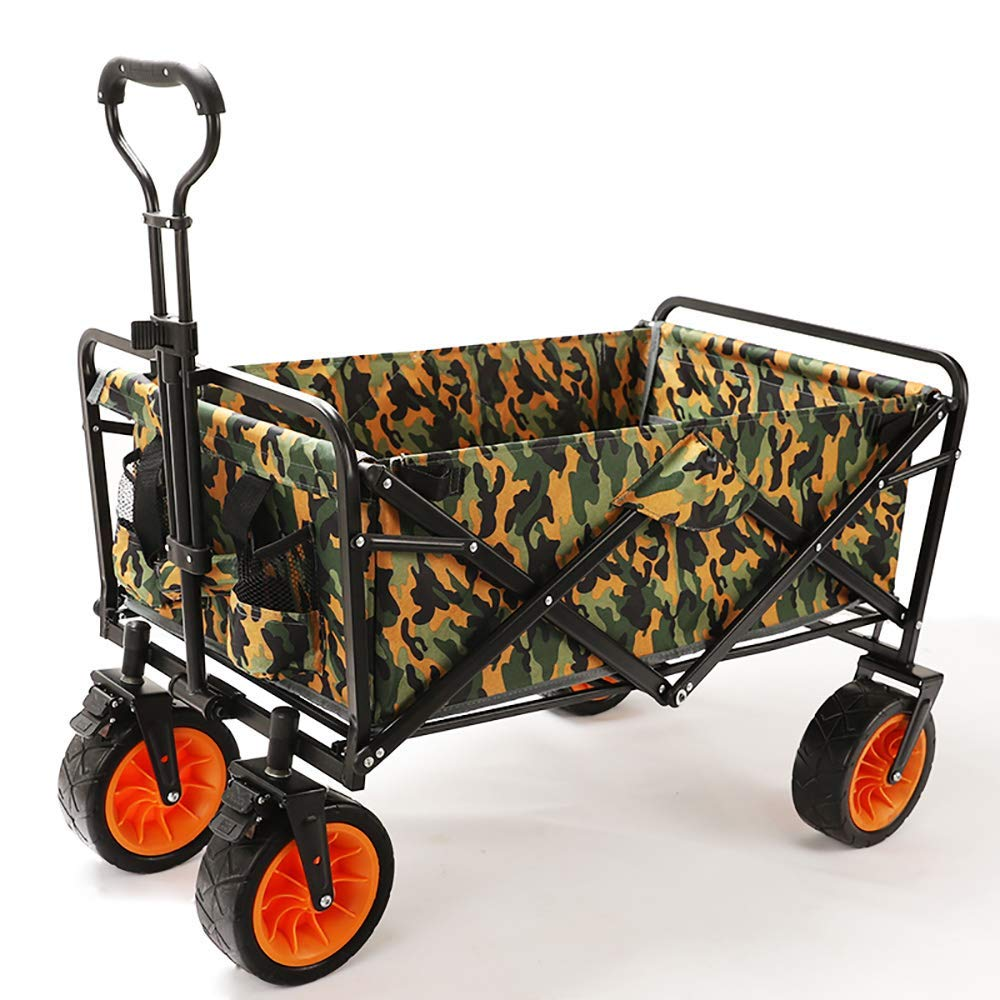 Li hand-trucks LWOO Folding Garden Cart Beach Shopping Cart/Mass Storage/Widening Tire + Brake/Load: 80 Kg/Rainforest Camouflage (Color : Rainforest Camouflage) by Li hand-trucks