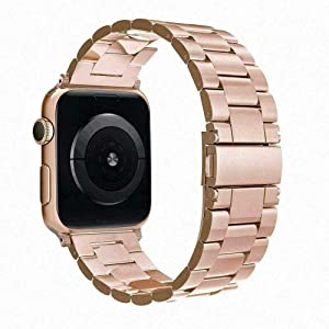 Simpeak Band Compatible with Apple Watch 38mm 40mm Series 6 SE 5 4 3 2 1, Women Men Solid Stainless Steel Business Band Strap Replacement for iWatch 38 40, Gold