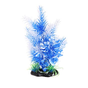 Biniwa Plantas de Acuario, césped Artificial de Flores Azules con Base, Adorno de Tanque